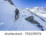 ski touring in high alpine... | Shutterstock . vector #753159076