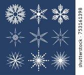 set of snowflakes on dark blue...   Shutterstock .eps vector #753161398