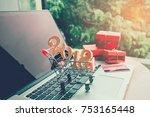 shopping online wooden sticks... | Shutterstock . vector #753165448