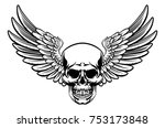 grim reaper skull with wings... | Shutterstock .eps vector #753173848