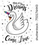 cute magical swan  romantic...   Shutterstock .eps vector #753176443