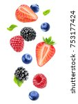 isolated fresh berries in the... | Shutterstock . vector #753177424