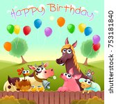 happy birthday card with cute... | Shutterstock .eps vector #753181840