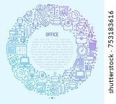 office concept in circle with... | Shutterstock .eps vector #753183616