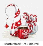 holidays vintage motive  red... | Shutterstock .eps vector #753185698
