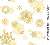golden snowflakes on white...   Shutterstock .eps vector #753187294