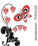 flowers and butterfly on white... | Shutterstock .eps vector #75319120
