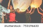 happy friends lighting sky... | Shutterstock . vector #753196633