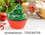 Christmas Green Cupcake With...