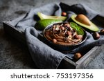 raw avocado chocolate mousse... | Shutterstock . vector #753197356