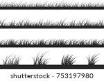 set of grass silhouettes.... | Shutterstock .eps vector #753197980