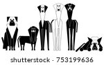 set of vector dogs. symbol of... | Shutterstock .eps vector #753199636