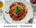 vegetarian italian pasta alla... | Shutterstock . vector #753200233