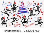dancing people. christmas.... | Shutterstock .eps vector #753201769