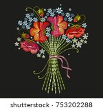 embroidery bouquet of flowers....   Shutterstock .eps vector #753202288