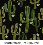 embroidery cactus seamless... | Shutterstock .eps vector #753202690