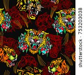 tigers seamless pattern  old...   Shutterstock .eps vector #753203038