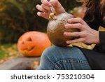 preparations to halloween.... | Shutterstock . vector #753210304