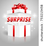 surprise gift box white red | Shutterstock .eps vector #753215458