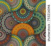 colorful vintage seamless... | Shutterstock .eps vector #753216046