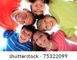 happy children in family circle ...   Shutterstock . vector #75322099