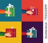 lovely set of christmas themed... | Shutterstock .eps vector #753223399