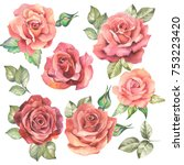 Stock photo set of red roses watercolor 753223420