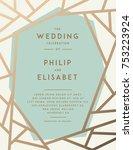 golden wedding invitation with... | Shutterstock .eps vector #753223924
