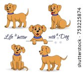 set of cute little dog. happy... | Shutterstock .eps vector #753225874