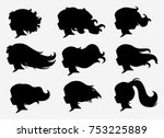 set of silhouettes of a profile ... | Shutterstock .eps vector #753225889