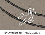 crime scene   victim and tracks ...   Shutterstock .eps vector #753226078