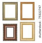 Four antique picture frames. - stock photo