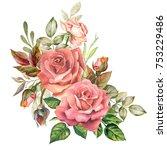 btautiful roses bouquet... | Shutterstock . vector #753229486