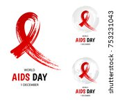 hand drawn red ribbon  world... | Shutterstock .eps vector #753231043