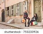 cute girls have fun time next... | Shutterstock . vector #753233926