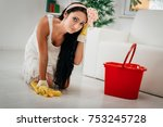 young beautiful tired housewife ... | Shutterstock . vector #753245728