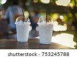 glass of milk with ice  bokeh... | Shutterstock . vector #753245788