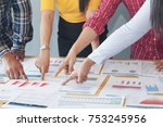 employee or marketing teams are ... | Shutterstock . vector #753245956