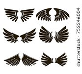 set of 6 pairs of black vector... | Shutterstock .eps vector #753246004