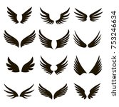 set of 12 pairs of black vector ... | Shutterstock .eps vector #753246634