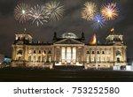 fireworks over berlin... | Shutterstock . vector #753252580