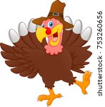 cute turkey bird cartoon | Shutterstock .eps vector #753260656
