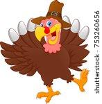 cute turkey bird cartoon | Shutterstock .eps vector #753260656