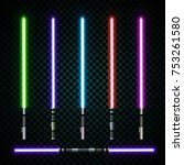 ealistic light swords. crossed... | Shutterstock .eps vector #753261580