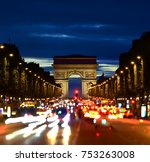 illuminated champs elysee and... | Shutterstock . vector #753263008