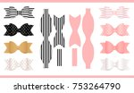 set of realistic paper bows ... | Shutterstock .eps vector #753264790