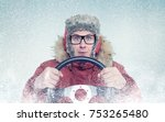 happy man in winter clothes... | Shutterstock . vector #753265480