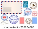 envelope and postmarks. vector... | Shutterstock .eps vector #753266500