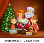 santa claus with kids reading... | Shutterstock .eps vector #753266926