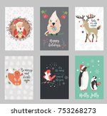 set of holiday postcards with... | Shutterstock .eps vector #753268273